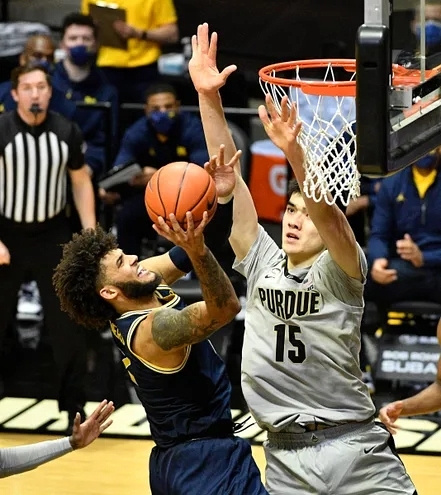 Michigan Forward Isaiah Livers (2) Gets Position on the Purdue Defender for a Basket.