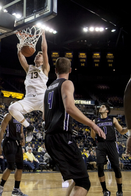 Michigan Forward Moritz Wagner (13) Goes in for the Dunk.